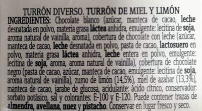 Turrón de Miel y limon - Ingredients - es