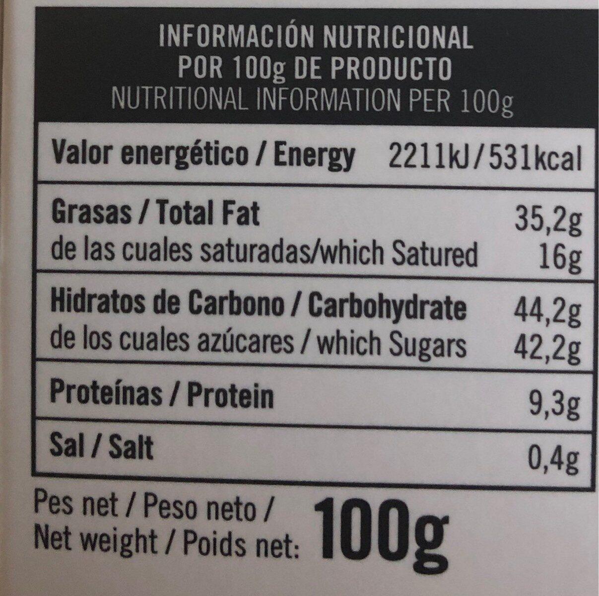 Tucanias caramelo con un punto de sal - Informations nutritionnelles