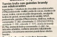 Turron de trufa al brandy con guindas - Ingredientes