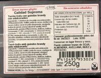 Turron de trufa al brandy con guindas - Información nutricional