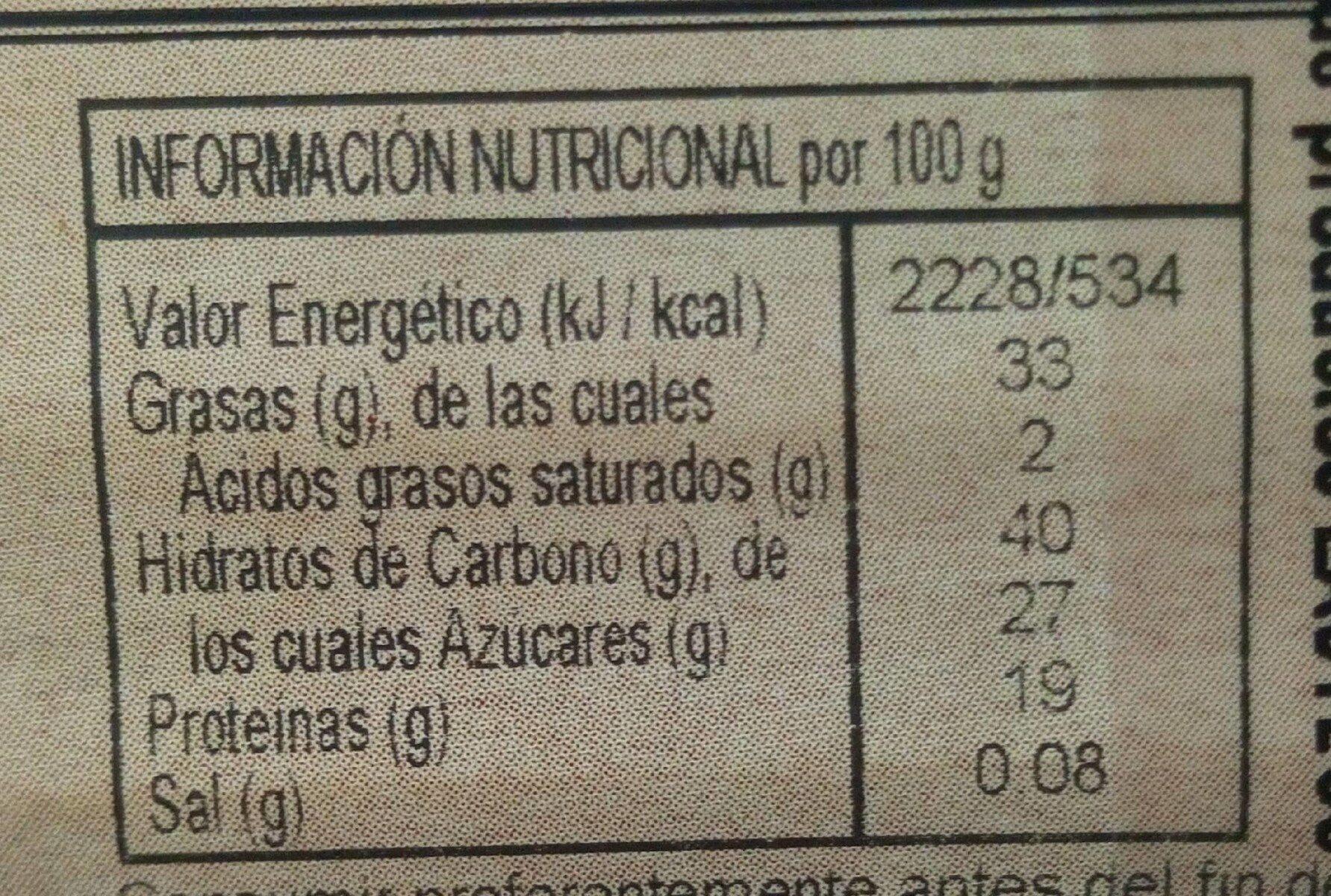 Turron Almendra Naranja - Información nutricional