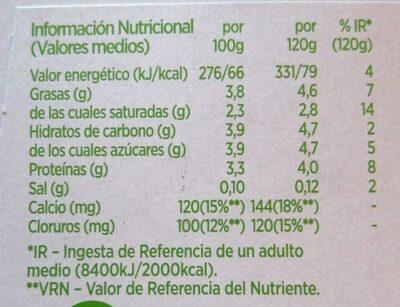 Activia con bífidus naturales (natural) - Voedingswaarden - es