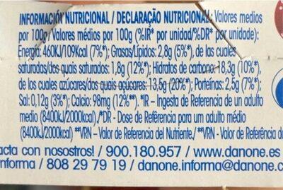 Yogur Con Fresas - Voedingswaarden