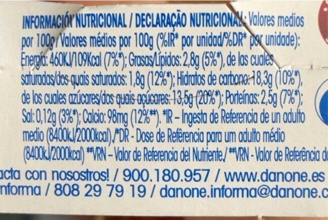 Yogur con fresas - Voedingswaarden - es