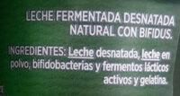 Activia bífidus natural desnatado 0% - Ingrediënten - es
