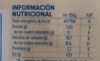 Flan sabor vainilla - Informations nutritionnelles - es