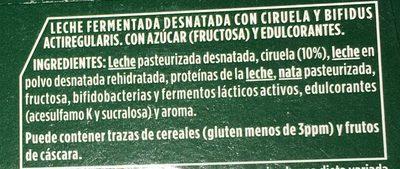 Activia 0% con Ciruelas - Ingredientes