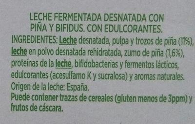 Activia 0% con Piña - Ingredientes