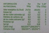 Activia 0% con Piña - Información nutricional