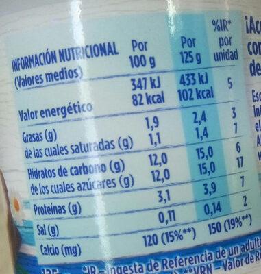 Yogur Natural Azucarado - Información nutricional - es