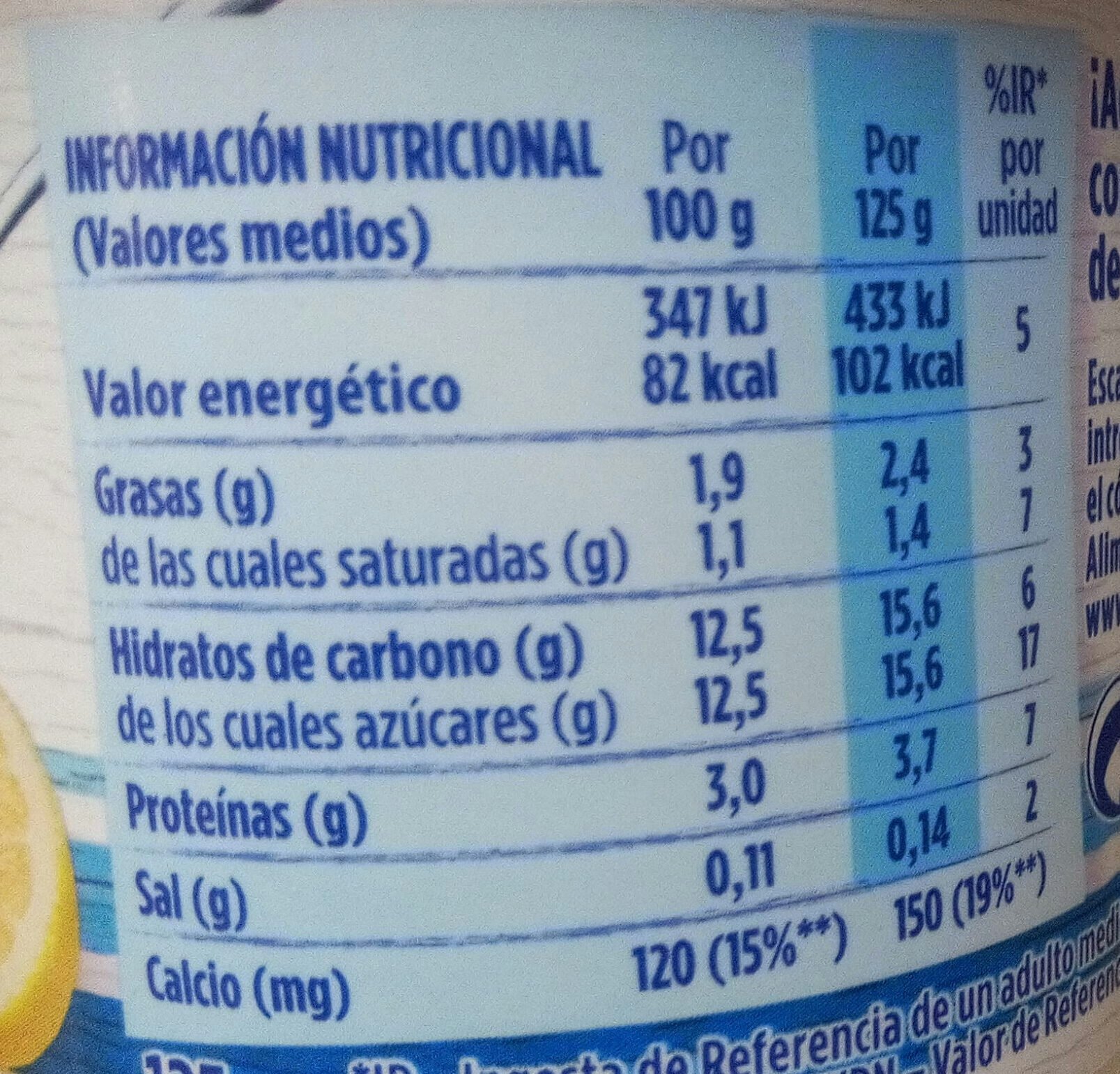 Yogurt Sabor Limón - Nutrition facts - es