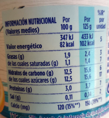 yogur Sabor Llimona - Información nutricional