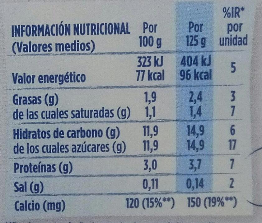 Yogur sabor plátano - Información nutricional - es
