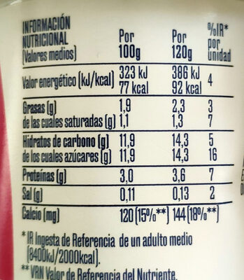 Sabor macedonia - Informations nutritionnelles - es