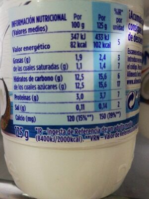 Yogur sabor coco - Informations nutritionnelles
