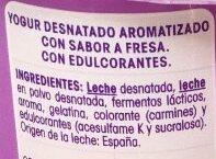 Vitalinea Fresa - Ingredients - es