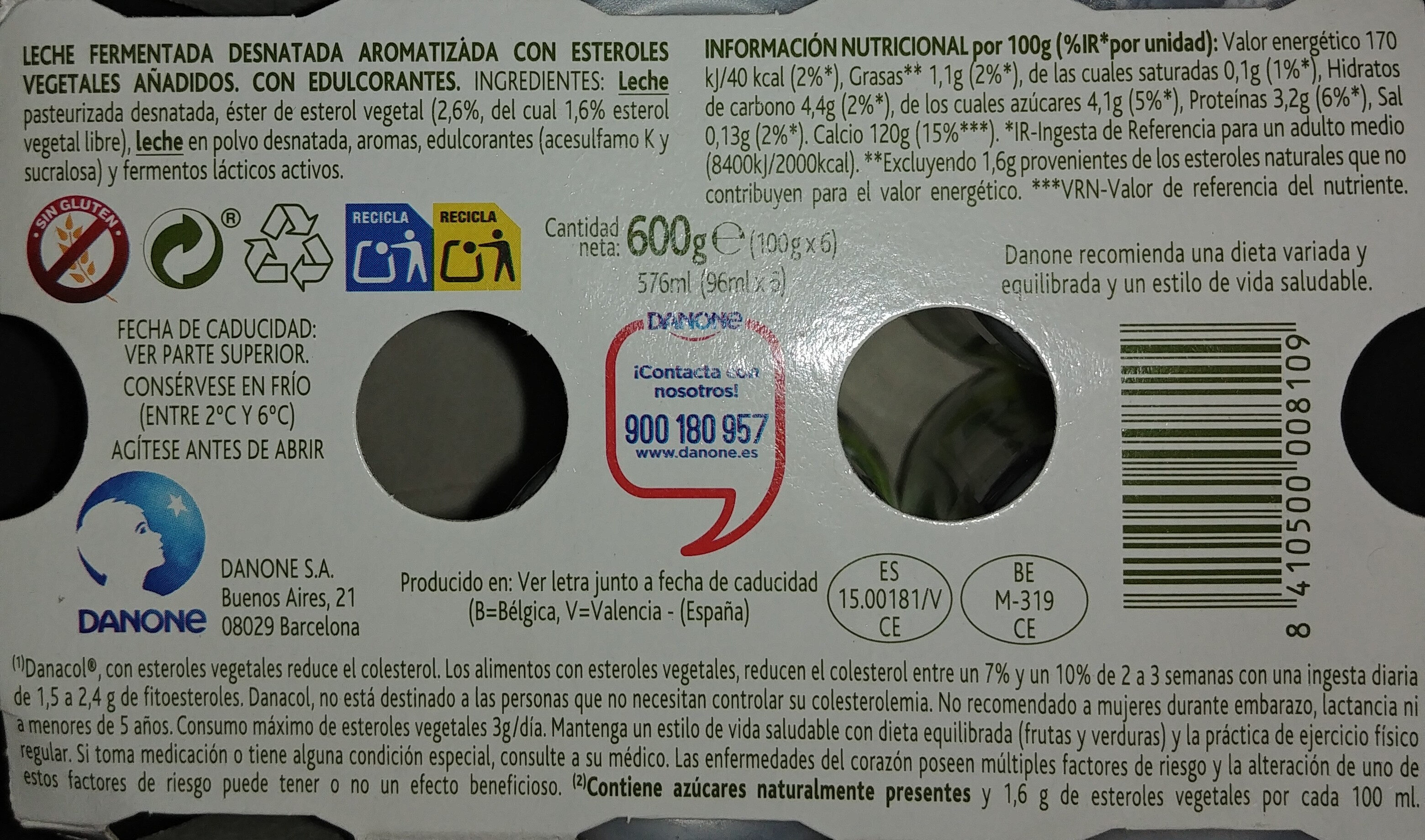 Danacol Natural - Ingredientes - es