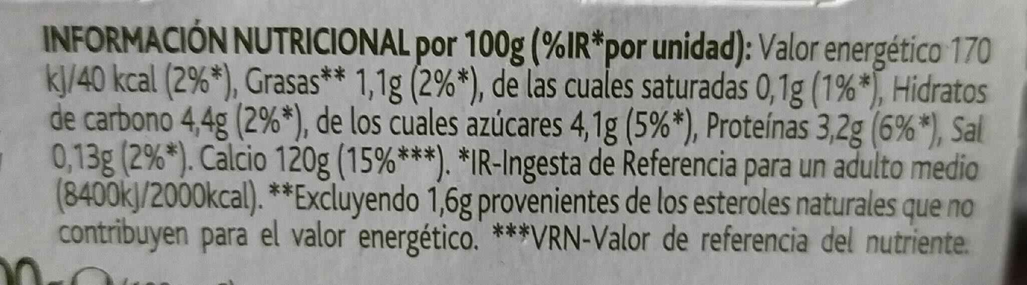 Danacol Natural - Información nutricional - es