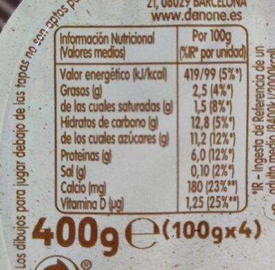 Danonino - Informations nutritionnelles - es