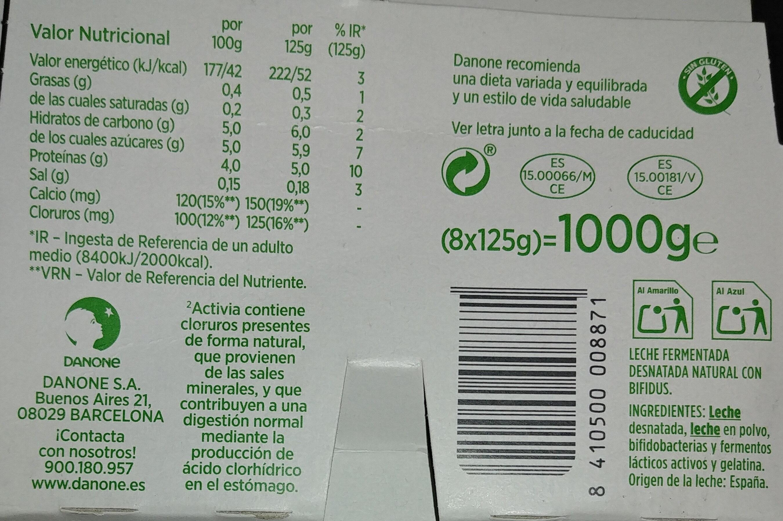 Activia 0% natural - Ingredientes