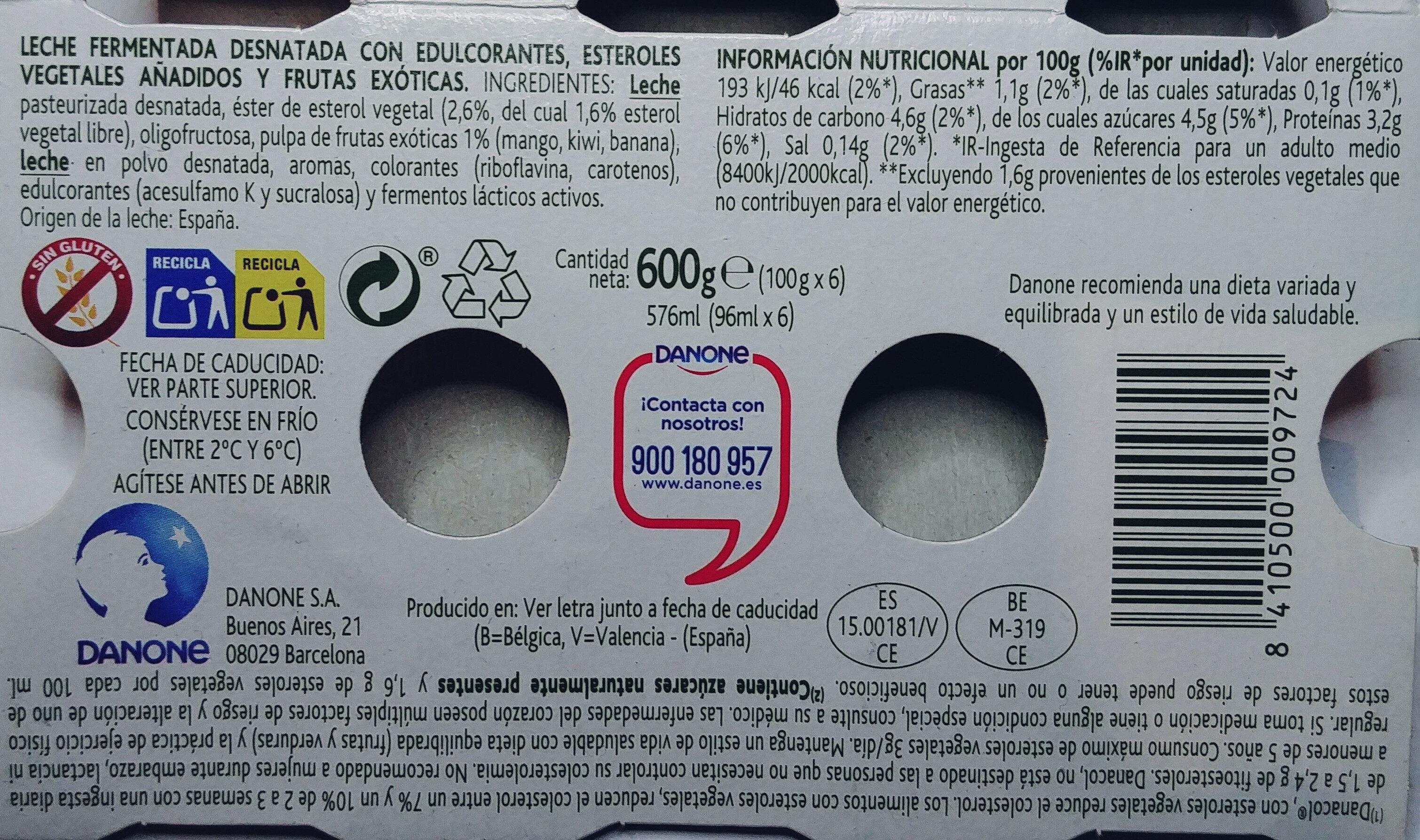 Danacol  Tropical - Ingredientes - es