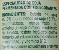 Postre de soja Natural edulcorado - Ingredients