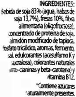 Postre de soja savia fresa edulcorado - DESCATALOGADO - Ingrediënten - es