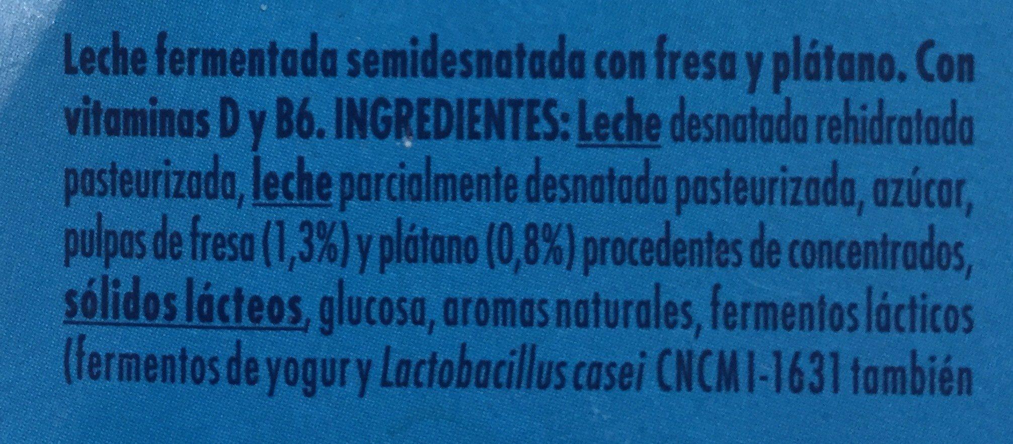Actimel Kids sabor fresa y plátano - Ingredientes