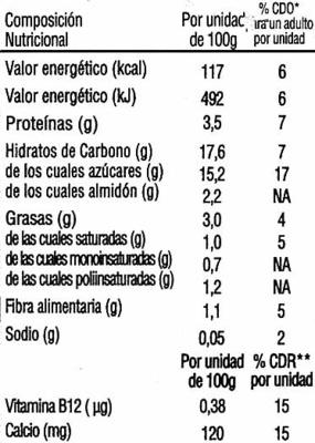 Postre de soja chocolate - DESCATALOGADO - Informations nutritionnelles - es