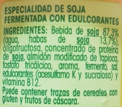 "Postre de soja ""Savia"" natural edulcorado - Ingredientes"