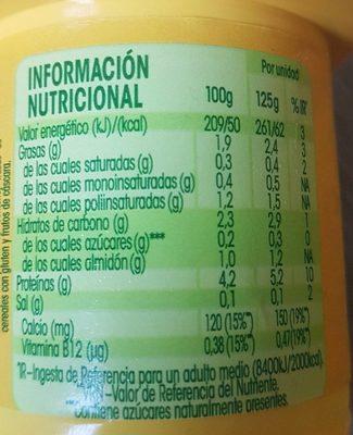 """Postre de soja """"Savia"""" natural edulcorado - Información nutricional"""