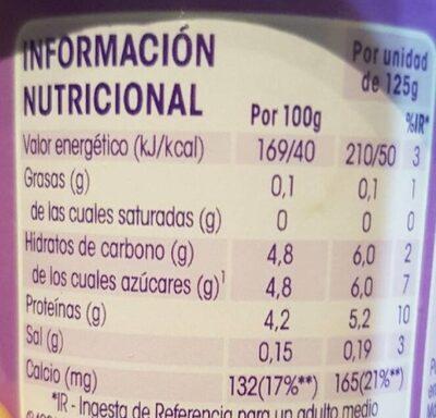 Vitalinea yogur sabor frutos del bosque - Nährwertangaben - es
