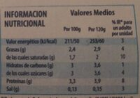 Yogur Natural - Valori nutrizionali - es