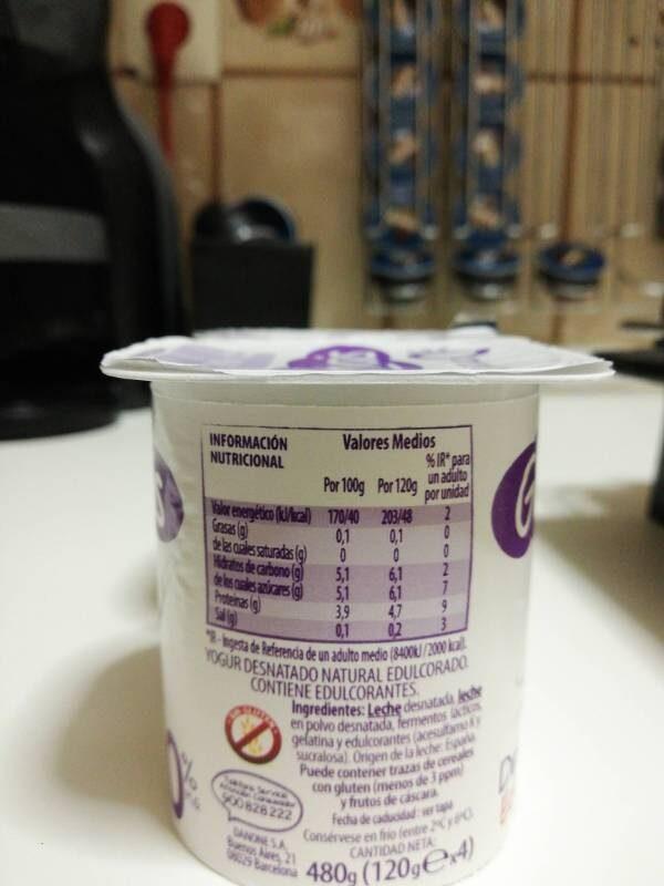 Yogur desnatado - Voedigswaarden