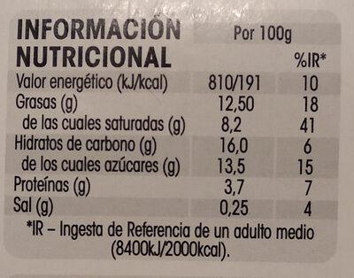 Flan de queso elaboración tradicional sin gluten - Informació nutricional