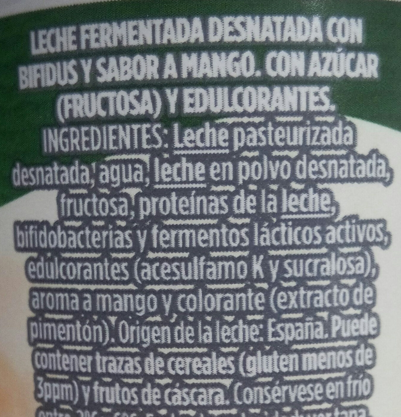 Yogur sabor mango - Ingrédients - es