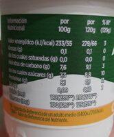 Yogur sabor mango - Informations nutritionnelles - es