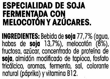 Savia de soja melocotón - Ingredientes - es