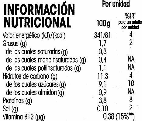 Savia de soja melocotón - Voedingswaarden