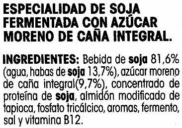 """Postre de soja """"Savia"""" natural con azúcar de caña integral - Ingredients"""
