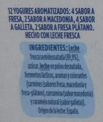 Yogur sabores 4 fresa + 4 galleta + 2 macedonia + 2 fresa-plátano - Ingredientes - es