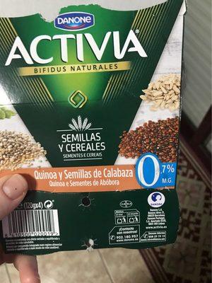 Iogurt Amb Quinoa i Llavors De Carbassa 0% Activia Fibres - Product