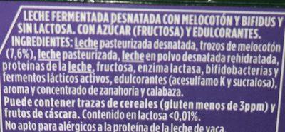 Activia à la Pêche 0% sans Lactose - Ingredients
