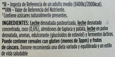 Yogur desnatado con coco triple zero m.g. azúcares - Ingrediënten
