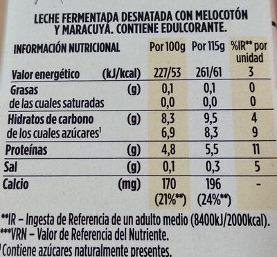 Light & free melocotón y fruta de la pasión - Información nutricional