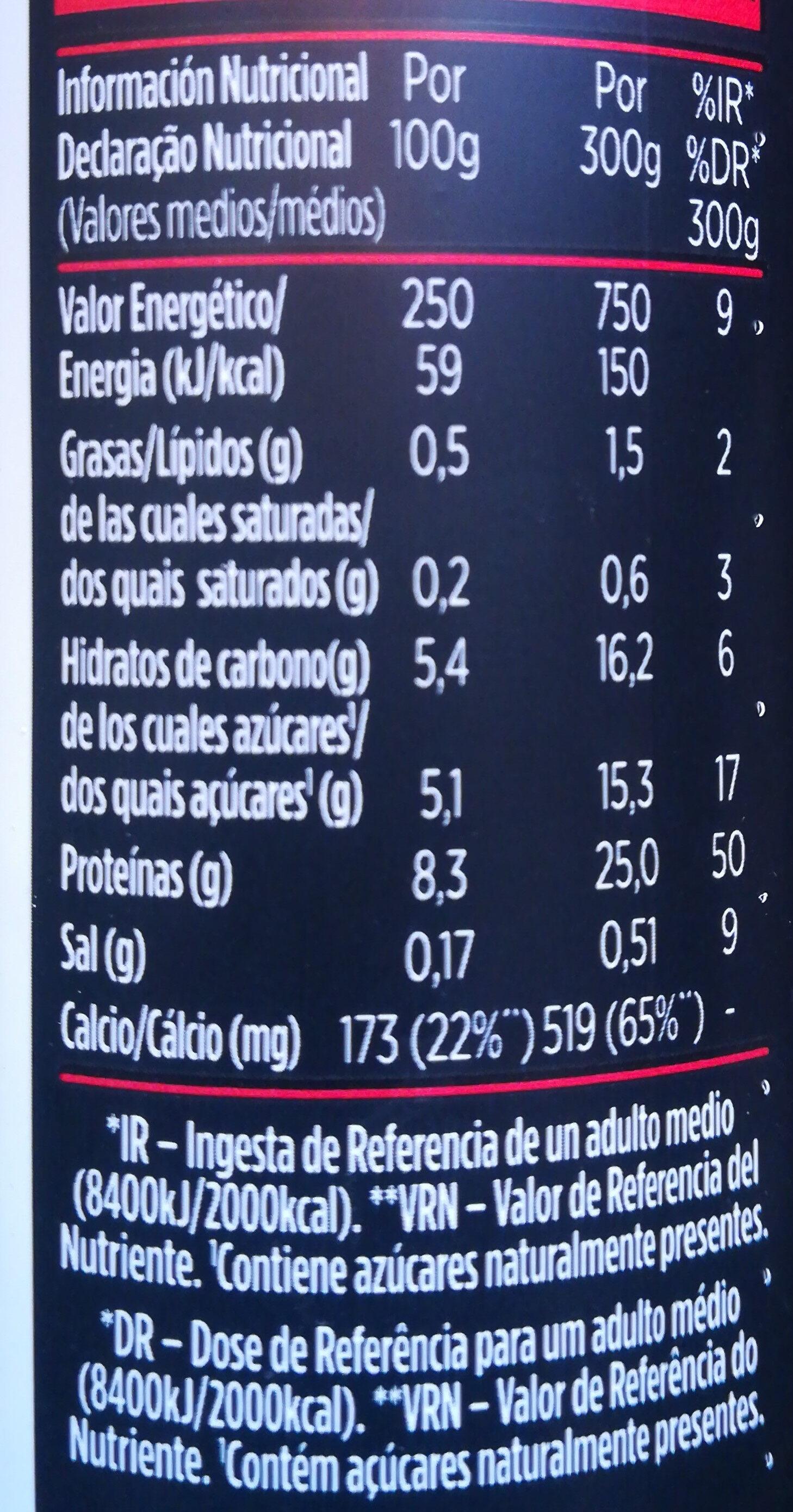 Yogur desnatado para beber con fresa y frambuesa. - Informação nutricional - pt