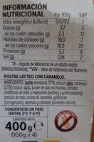 Flan de dulce de leche - Nutrition facts