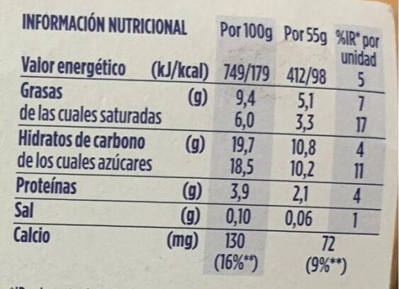 OIKOS mousse - Información nutricional - es