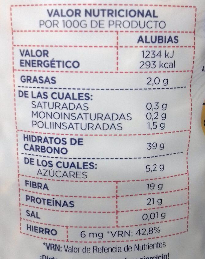 Alubia de La Bañeza-León - Informació nutricional