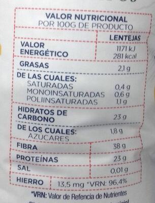 Lentejas de Tierra de Campos - Información nutricional - es